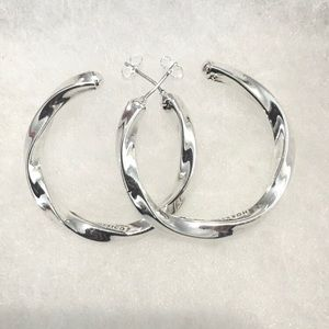 Twisted Hoops Sterling Silver 925 Earrings